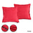 2 Set Pillow Cushion Covers Case Cotton Canvas Throw With Inserts - Red