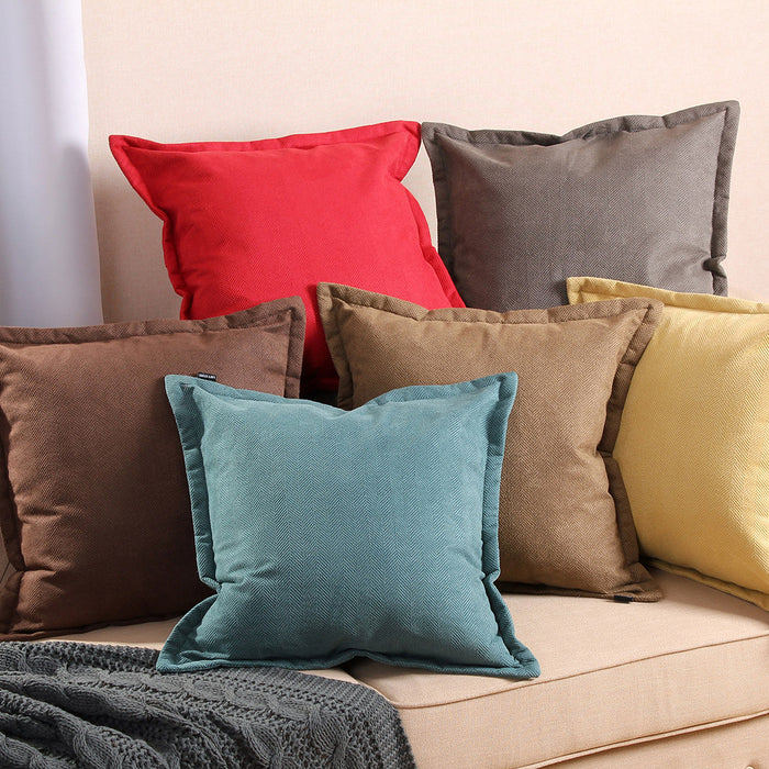 2 Set Pillow Cushion Covers Case Cotton Canvas Throw With Inserts - Brown