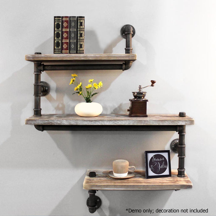 3 Level 84cm Rustic Industrial DIY Metal Pipe Shelf  Adjustable Bookshelf Wall