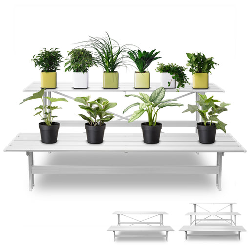 2 Tiers Aluminium Pot Plant Stand Garden Home Balcony Patio Planter Decor Silver