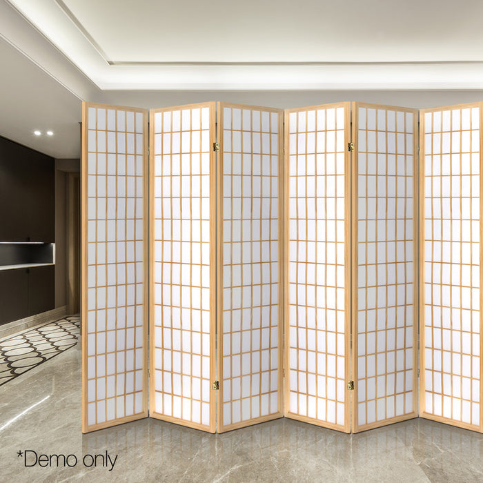 Outstanding 6 Panel Room Divider Screen Solid Wooden Timber Natural Fold Stand Privacy Natural Download Free Architecture Designs Embacsunscenecom