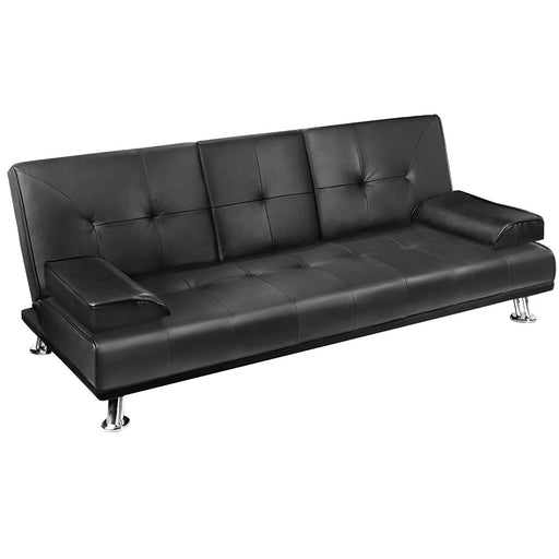 3 Seater PU Leather Sofa Bed - Black