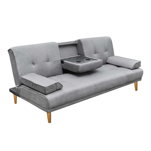 Modern Design Charcoal Linen Fabric Sofa Bed three 3 Seater -Grey
