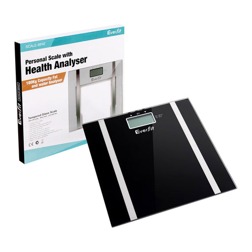 Digital Bathroom Body Fat Scale Scales Gym Weight Water Glass LCD Electronic-Black