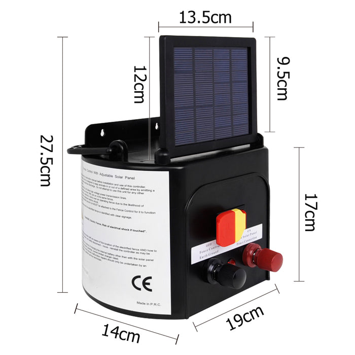 3km Farm Electric Fence Solar Energiser w/ Battery Charger