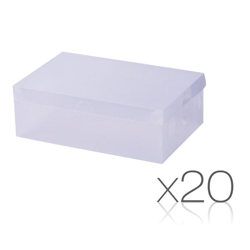 Set of 20 Transparent Stackable Shoe Storage Box