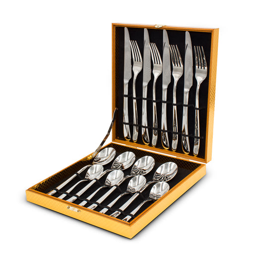 16pcs Cutlery Set Dinning Knife Fork Spoon 18/10 Stainless Steel W/ Case