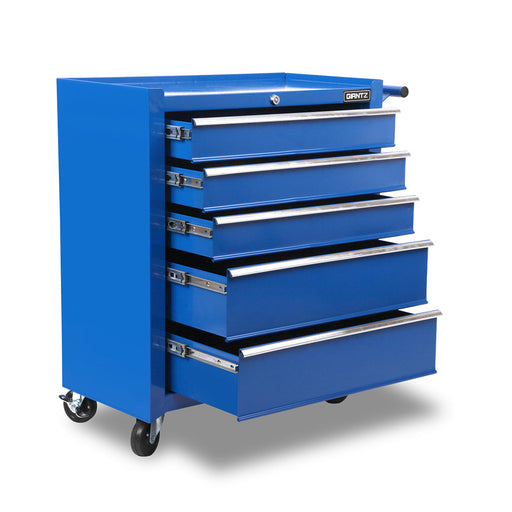5 Drawers Mechanic Tool Box Storage Chest Cabinet Trolley Garage Toolbox-Blue