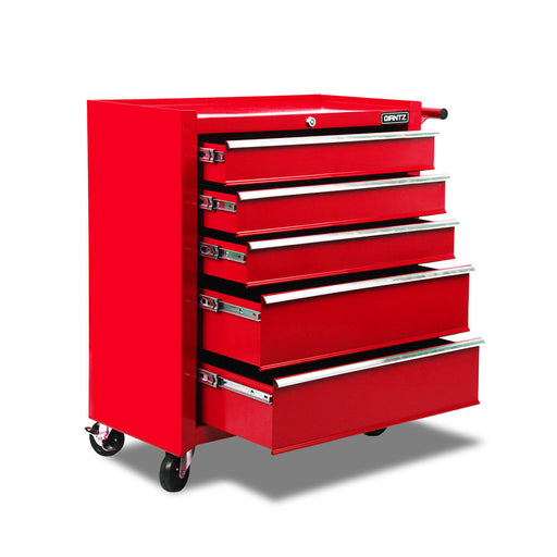 5 Drawers Mechanic Tool Box Storage Chest Cabinet Trolley Garage Toolbox-Red