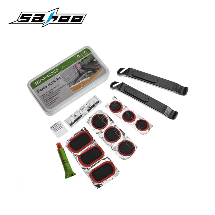 16 in 1 SAHOO Cycling Bike Tool Tyre Repair Kit Mini Bicycle Pump Rasp Bag Set