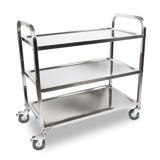 3 Tiers Food Trolley Cart Stainless Steel Utility Kitchen Dining Service - Large