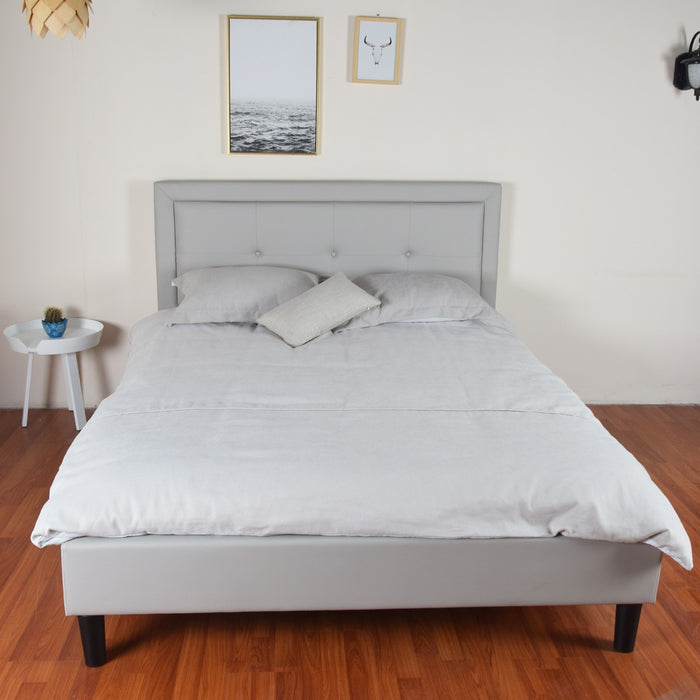 Albans Queen Bed Grey PU Leather Upholstered