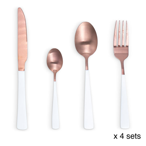 16 Piece Cutlery Set White/Copper - Knives Spoon Fork Dining Home
