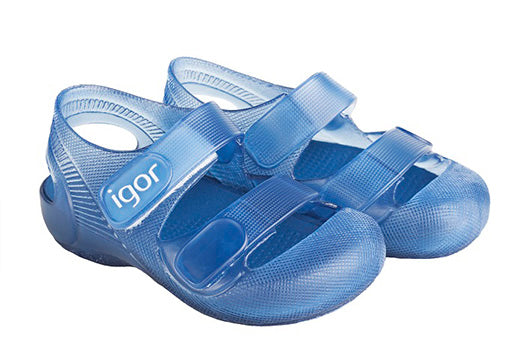 Igor Bondi blue jelly sandal with velcro strap