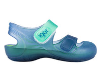Igor Bondi bicolour navy and green jelly sandal
