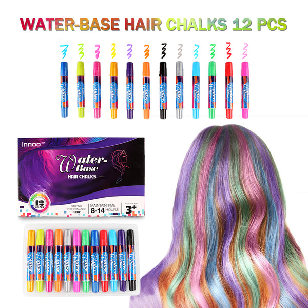 Hair Chalk for Girls - Hair Colour Face Faint Body Paint Crayons Toys|12 Color Temporary Hair Colour Pens Non-Toxic Washable | Gifts for Women Birthday Christmas