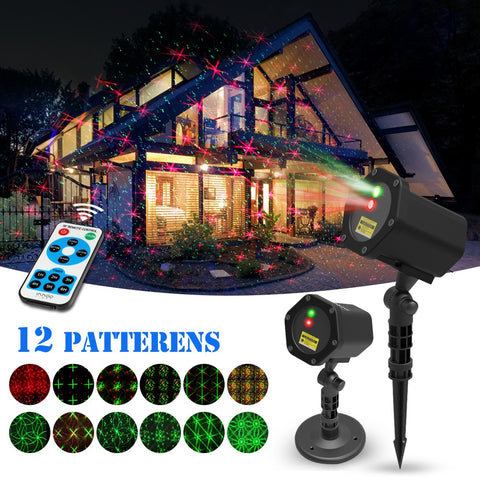 Christmas Projector Lights Outdoor, innooLight Christmas Projector Light, 12 in 1 Patterns, Waterproof Red and Green Stars Light with Timer Preset & RF Wireless Remote for Party & Holiday