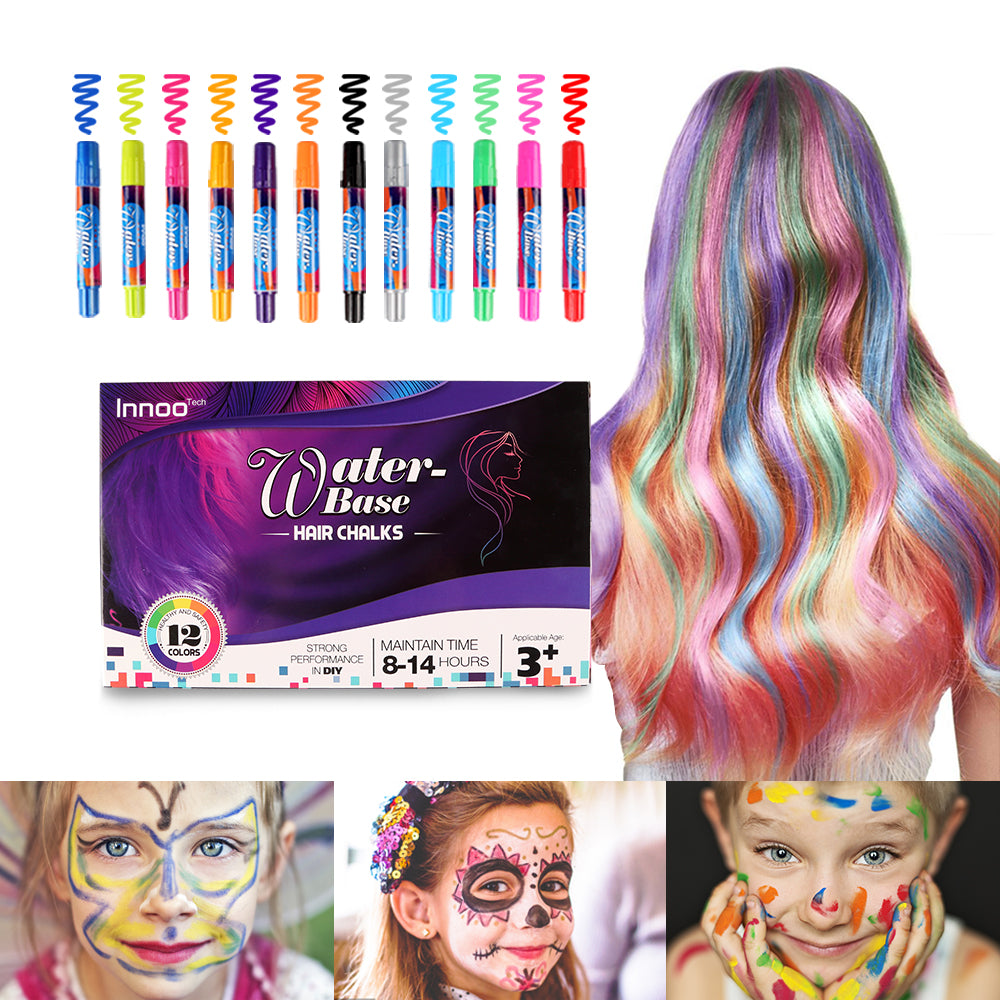 Hair Chalk for Girls - Hair Colour Spray Face Faint Body Paint Crayons Toys|12 Color Temporary Hair Colour Pens Non-Toxic Washable | Gifts for Women Birthday Christmas
