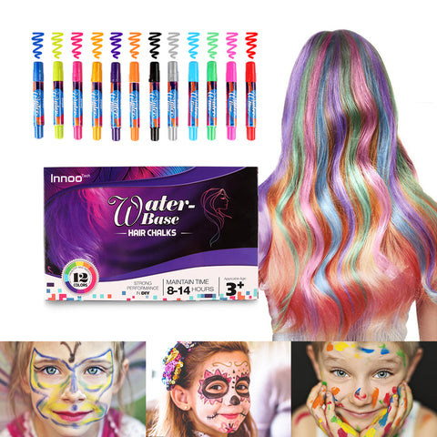 Hair Chalk for Girls Gift- Face and Body Paint Crayons Christmas Gifts Toys|12 Color Temporary Hair Colour Pens Non-Toxic Washable | Gifts for Women Birthday Christmas