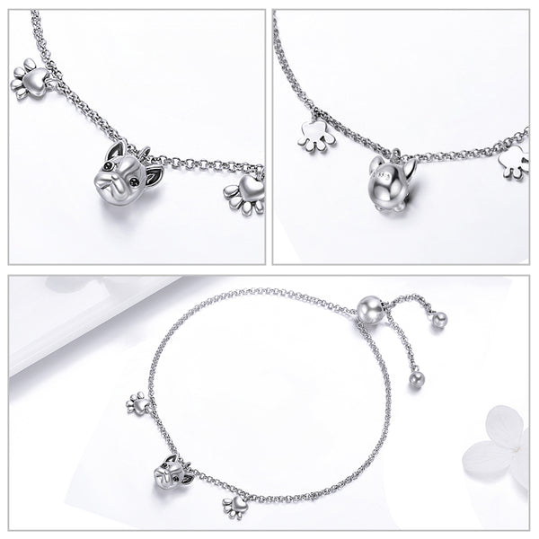 Bijours Women Link Bracelet 925 Sterling Silver French Bulldog Drip Process Total Length: 22CM Platinum Plated