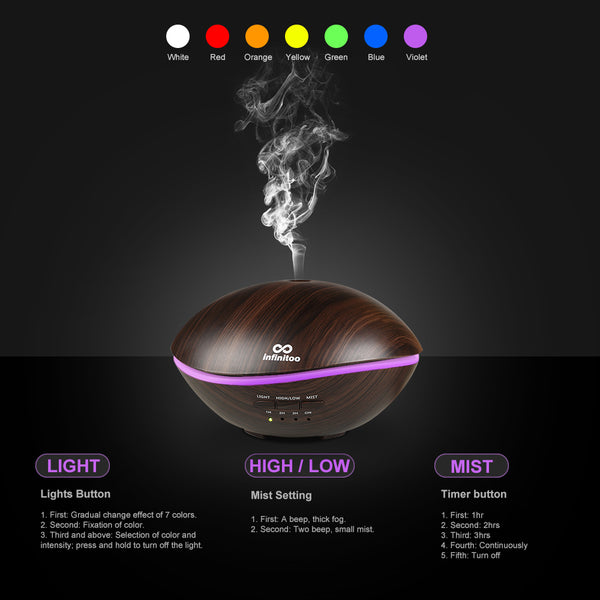 500 ml essential oil diffuser, wood grain ultrasonic diffuser cold mist humidifier