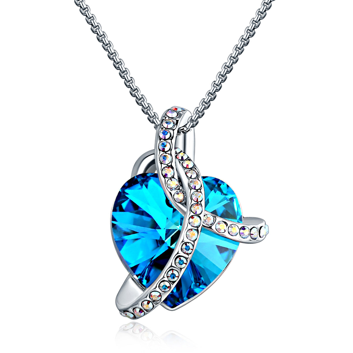 CLÉMENT & HILTON 925 Sterling Silver Crystal from Swarovski Necklace with Delicate Gift Box