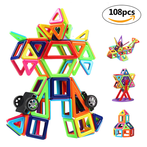 Innoo Tech Magnetic Building Blocks, 108Pcs Mini Construction Blocks, Inspiring Building Blocks Building, Magnetic Toys Educational Toys, Great Gift for Baby Toddler for 3 Years