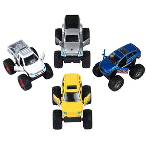 4 Pieces Pull Back and Go Car Model Off Road Vechile Toy Set for 3-12 Year Old Boy Nice Gift for Kids