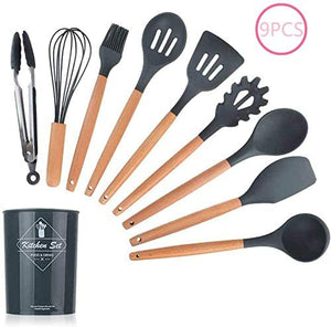 Innoo Tech Silicone Cooking Utensils, Heat Resistant Kitchen Non-Stick Cooking Utensils Silicone Kitchen Utensil Set with Storage Box Kitchen Tools 9 Piece Set + Storage Bucket/Black