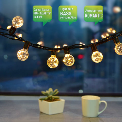 String Lights Waterproof String Fairy Lights for Outdoor Use, CroLED LED Light Chain 10 m 30 Bulb G40 Light Bubble Light Decoration for Christmas Wedding Garden Party House with Spare Bulb
