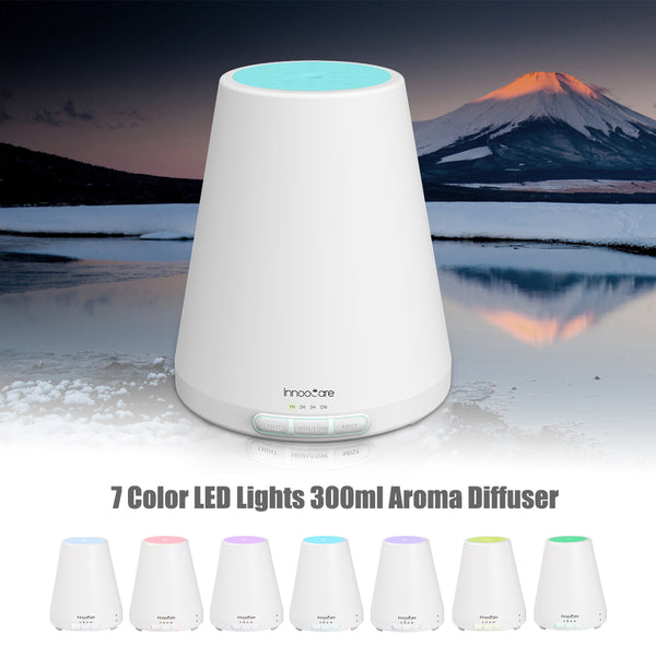 Aroma Diffuser Essential Oil Aromatherapy-Mist Humidifiers Ultrasonic Wood Grain | Air Freshener with 7 Colors LED Lights, Automatically Shut-Off, for Home, Bedroom,300ML