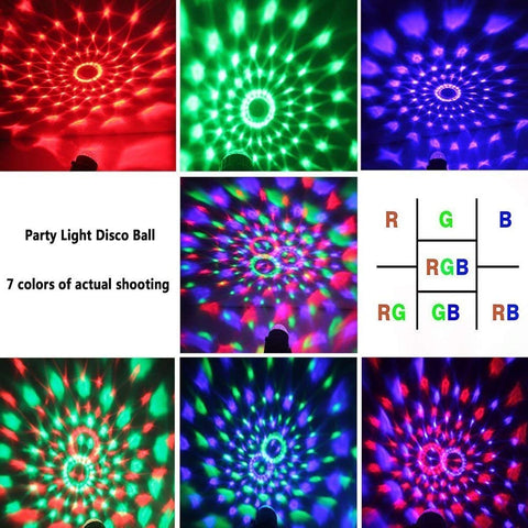 Discokugel Disco Led Party Licht Discolicht Lichteffekte -7 Farbe RGB Led Effekt DJ Licht Discokugel kinder für Party, Hochzeit, Weihnachten, Club, Halloween, Bar, Bühne, Schlafzimmer, Kindergeburtstag(mit Fernbedienung)