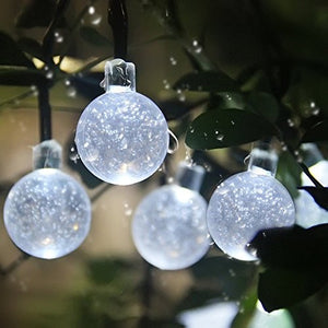 White Crystal Ball Globe Christmas Solar Powered String Lights