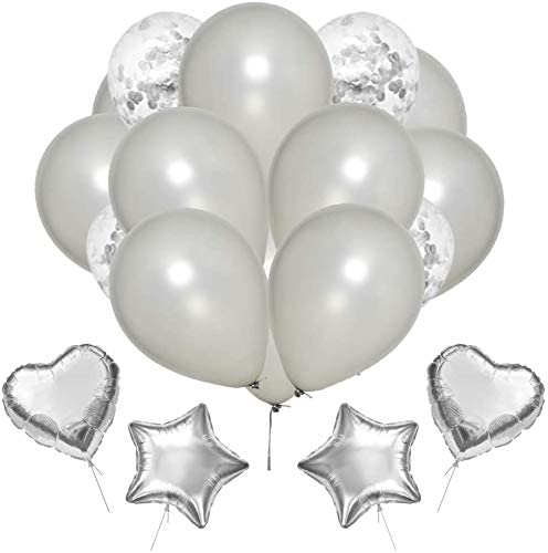ANEAR Silver Birthday Decorations Party Supplies Set (50 PC), Balloons, Tassels, Banner, Dispensing, Pump for Birthday Party - Ballerina Party - Bachelorette Party