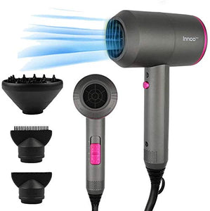 Innoo Tech Professional Hair Dryers 2000W Powerful AC Motor Fast Drying Ionic Hair Dryer with 2 Speed 3 Heat Setting, Cool Shot Button with 1 Diffuser & 2 Concentrator for Multi Women Man Hairstyles