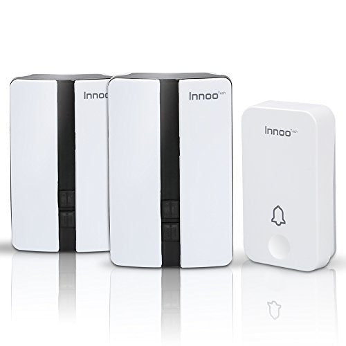 No battery Required Wireless Doorbells, Innoo Tech Weatherproof Door Chime with 2 Receivers, 500 Feet Electric Doorbell, White