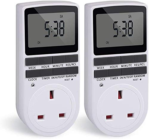 Timer Plug Socket, Innoo Tech Digital Security Plug Programmable Timer Socket with LCD Display for Lights, 24 Hours/ 7 Days Lamp Timer Plug Switch, Energy class A +++ (White, 2 Pack)