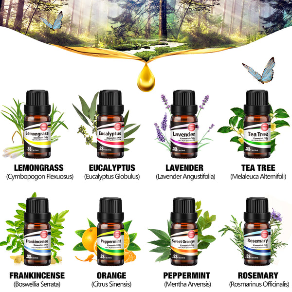 Innoo Tech Essential Oils Set 8 x 10ml 100% Pure Oils Gift Set for Women and Men Lavender, Tea Tree, Eucalyptus, Frankincense, Lemongrass, Rosemary, Sweet Orange, Peppermint Aromatherapy Oil…