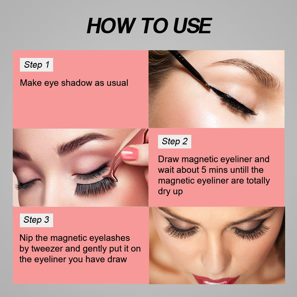Magnetic Eyeliners and Eyelashes, 5 Pairs Natural and Reusable Eyelashes with a Tweezer and 2 Bottles of Magnetic Eyeliner( Thick and Thin), Your Fast Eye-Makeup Helper