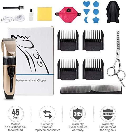 Innoo Tech Professional Hair Clippers for Men Kids, Hair Trimmer Kits Set Cordless USB Rechargeable Five Speed Adjustment Electric Hair Clippers with 4 Guide Combs with Hairdressing Cape & Storage