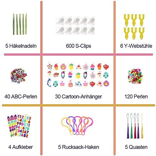 Innoo Tech 10815+ Rainbow Rubber Bands Refill Kit, Over 10,000 Loom Rubber Bands, 600 S-Clips, 160 Beads, 30 Pendants,10 Backpack Hooks, 6 Y-looms, 5 Tassels, 5Crochet Hooks, 4 Stickers