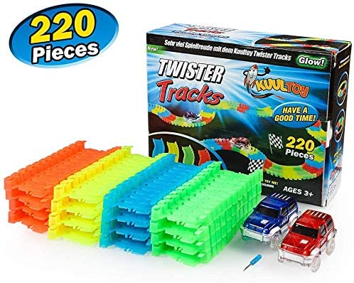 Innoo Tech Glow Track, Twister Tracks, 220 PCS Magic Glow in the dark Tracks with 2 Race Cars, Construction Car Toys for Kids Boys Girls 2 3 4 5 6 Year Old