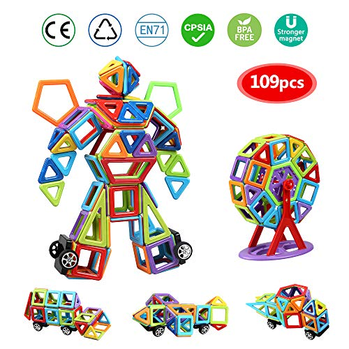 infinitoo 109 pcs Magnetic Building Blocks| 3D Magnetic Construction Rainbow Kit