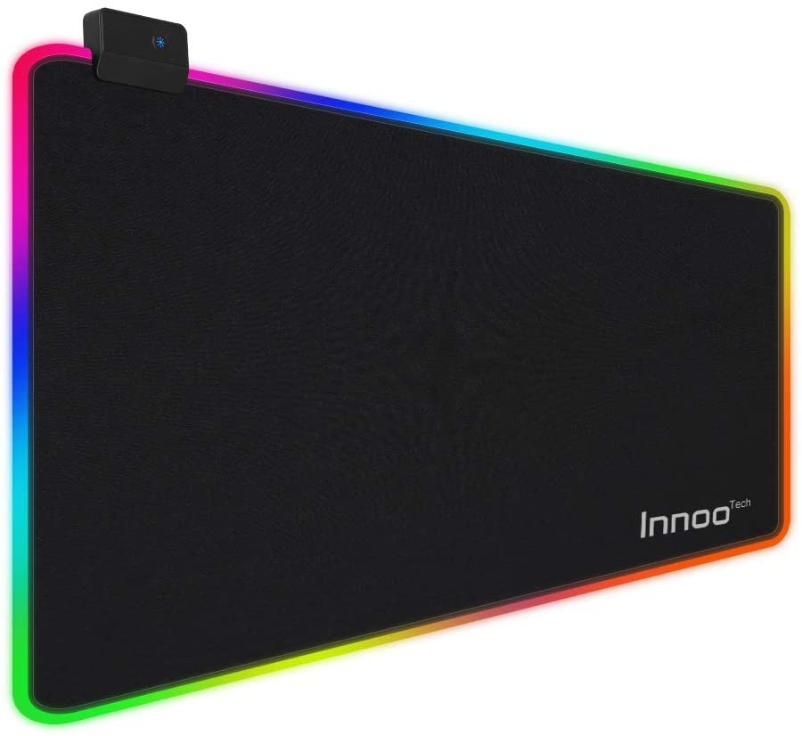 Innoo tech RGB Gaming Mouse Pad, 14 Modes Large Glowing Led Extended Mouse Pad, Anti-Slip Rubber Base and Waterproof Surface, Oversized Soft Led Computer Keyboard Mouse Pad, 31.5x12x0.2 Inch