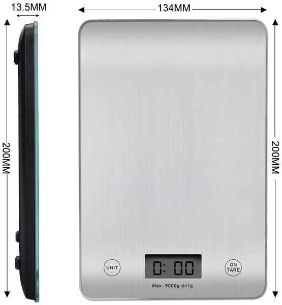 Innoo Tech Digital Kitchen Weighing Scales, Premium Stainless Steel Cooking Scales, Stylish Ultra Slim Design Food Scales, LCD Display, Compact Storage, Easy Clean, Silver