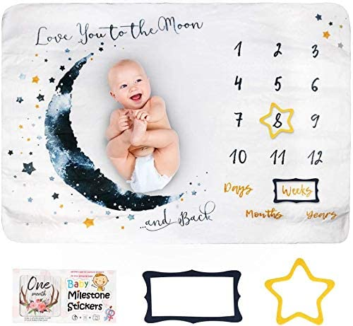 Innoo Tech Baby Monthly Milestone Blanket Boy - Baby Photo Blanket for Newborn Baby Shower, Monthly Blanket for Baby Pictures, Includes Bandana Drool Bib + 2 Frames