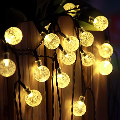 Innoo Tech Outdoor 19.7 ft 30 LED Warm White Crystal Ball Christmas Globe Lights for Garden Path, Party