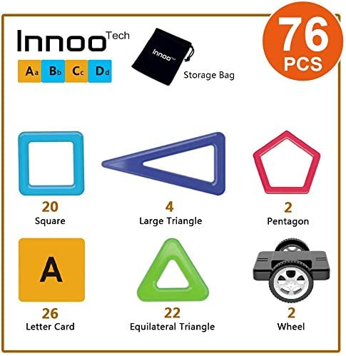 Innoo Tech 76 pieces Kids Toys, Building Blocks Educational Toys, ABS Safety Plastic, Instruction Booklet Included, Construction Toys Magnet Toys for Toddlers & Kids