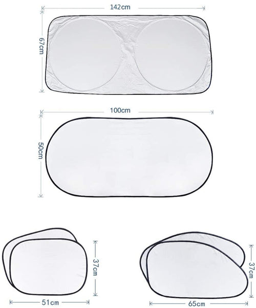 Innoo Tech Windscreen Sun Shade, 6 PCS Car Windscreen Cover Set for Sun Protection, Universal Foldable Sunshade for Car Windshield Will Keep Your Car Cool