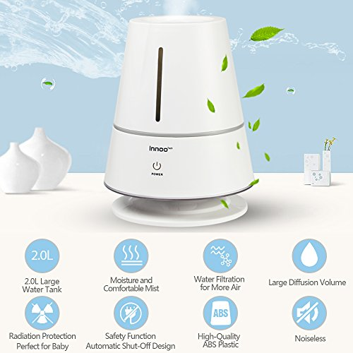 Innoo Tech Ultrasonic Cool Table Lamp Humidifiers | Automatic Shut-Off | Night Light Function